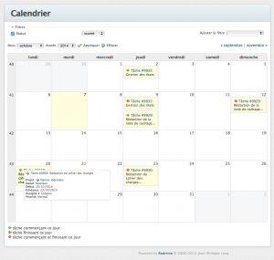 Le calendrier d'un projet redmine